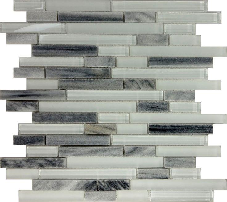 SAMPLE- Gray White Glass Natural Stone Linear Mosaic Tile Kitchen Backsplash Spa #Unbranded