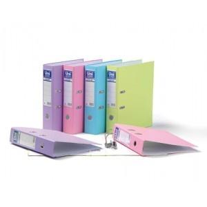 Archivador Unisystem, de cartón forrado en plástico, mecanismo niquelado. Tamaño A-4. Color Rosa.