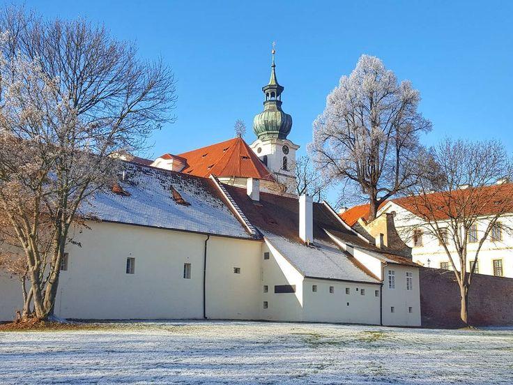 The Břevnov Monastery in Winter Prague  #prague #travel #winter #afternoon #brevnov #monastery #oldarchitecture #architecture #bluesky #street #streetphotography #galaxys6
