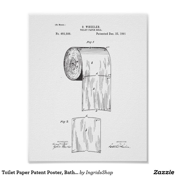Toilet Paper Patent Poster, Bathroom Print Decor