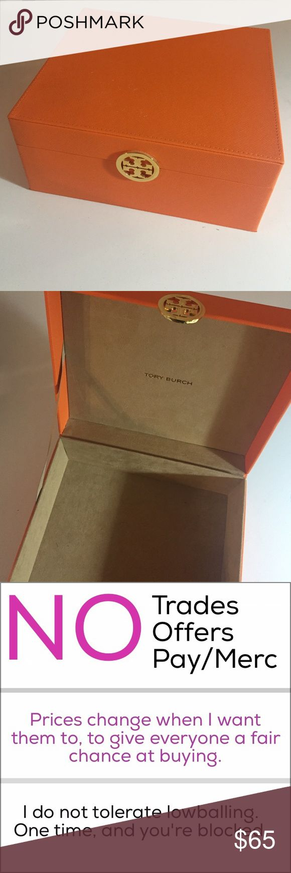 Tory Burch Orange Box w Logo EUC - 9 inches wide x 9 inches long x 4 inches tall - sturdy box with gold toned logo (metal) and tan suede interior and gold logo inside of the top lid. Lid is attached to the bottom and also has a tan ribbon stop. Exterior is a bright orange saffiano leather (Tory's signature orange color). Was used as a jewelry box and has very very faint markings inside and a few white marks on the exterior. NO TRADES NO OFFERS NO PAY/MERC Tory Burch Jewelry