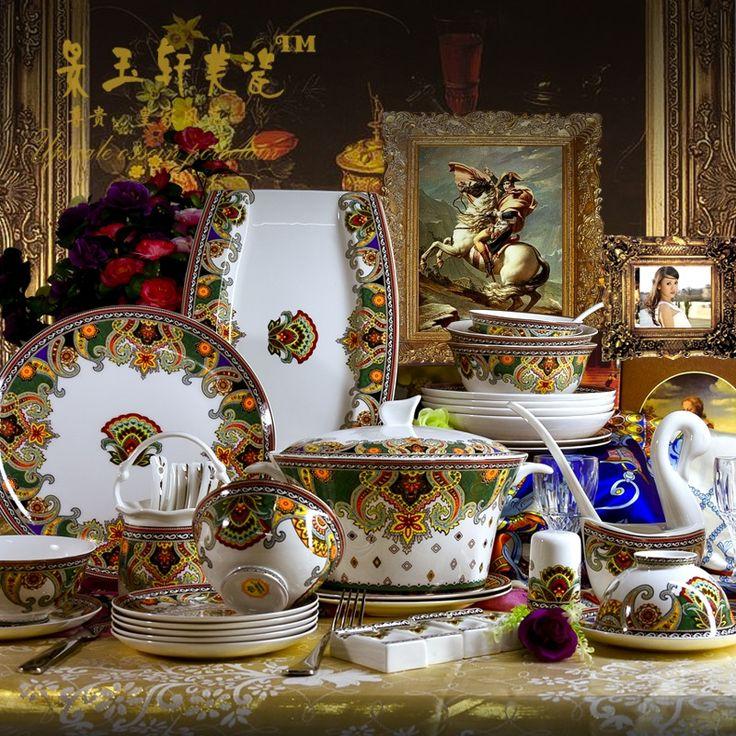 Guci Jingdezhen platos de cerámica taza disco 60 cabeza home grado vajilla de china de hueso real Europeo regalos en Juegos de vajilla de Hogar y Jardín en AliExpress.com   Alibaba Group