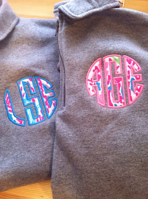 Lilly Pulitzer monogram Applique 1/4 zip by TheMonogrammingQueen, $49.00 LETS CHA CHA, CIRCLE