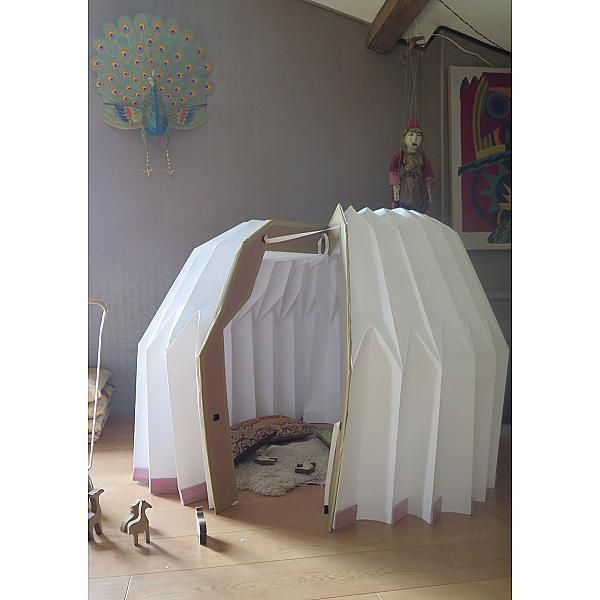 Origanid, yourte pliable pour enfants, cabane pliable, cabane pop up, décoration d'intéerieur pour enfant, cabane de voyage, cabane portative, structure autoportante, objet pour développer créativité,