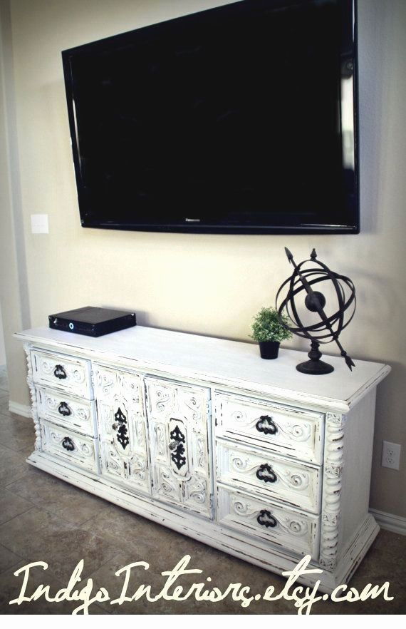 Vintage  Shabby Chic White Dresser / Buffet / Changing Table / Tv Stand by www.IndigoInteriors.etsy.com