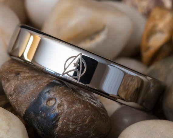 Tungsten Carbide Band 6mm Pipe Star Trek Design Ring on Etsy, £30.33