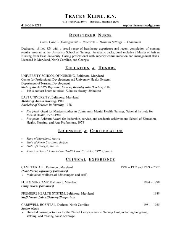 Registered Nurse Resume Sample Resume Sample Fresh Graduate