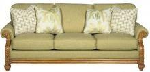 Sofa 722950 | Craftmaster - Rattan Arm - Wood Accents - Carved Feet #CoastalStyles #TrendyFurniture