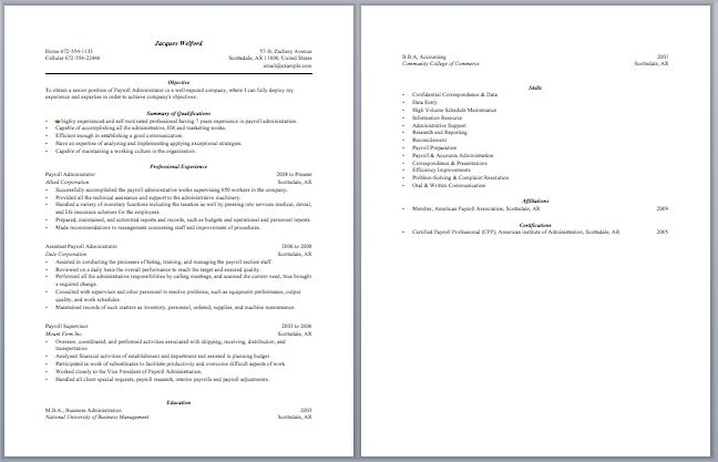 Payroll Administrator Resume Administrative Resume Samples - payroll and benefits administrator sample resume