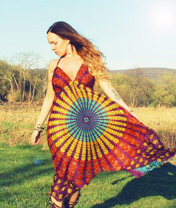 Handmade Hippie Fall Dress, Purple, Festival Dress, Backless Dress, Bohemian, Aztec, Peacock, Bridesmaid, Maternity, Spring, Mother's Day