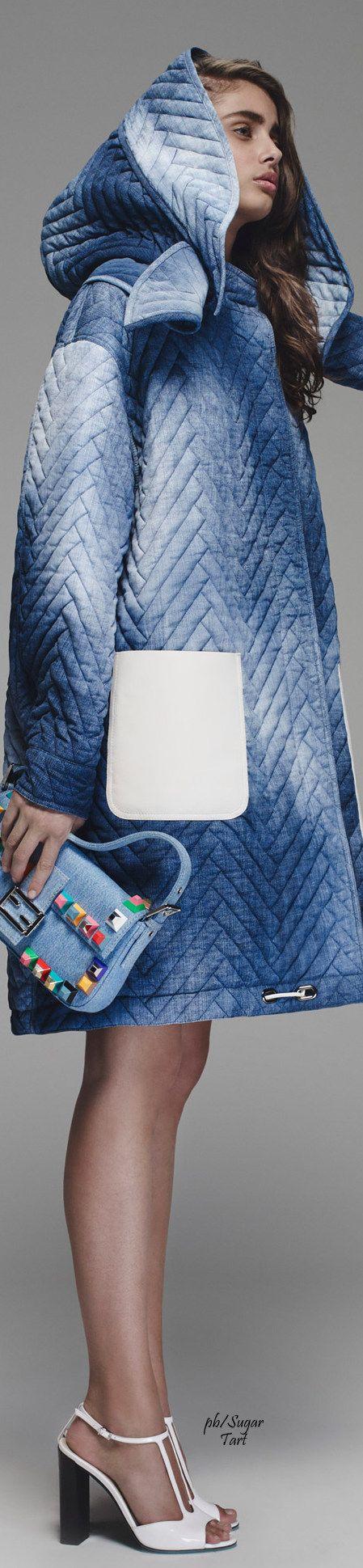 Fendi Resort 2016 blue coat.  women fashion outfit clothing style apparel @roressclothes closet ideas
