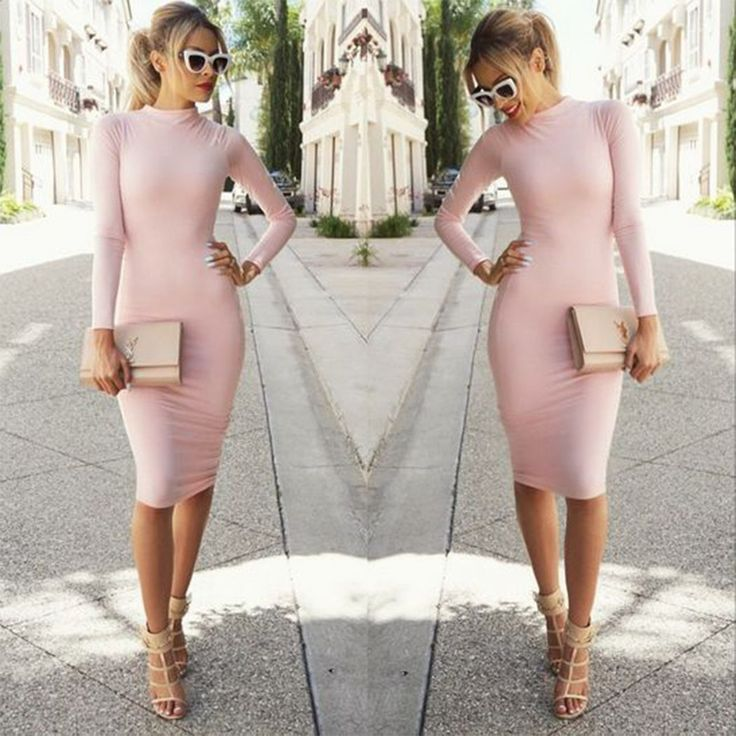 Unique long sleeves and bodycon design make women fashion and sexy,pink color set off your skin softly,suitable for work and party