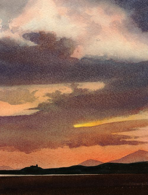 Sky above the castle, an original watercolour painting by Rob Piercy