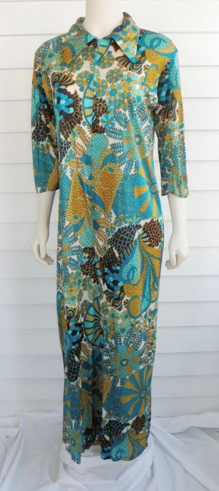 Vtg Mod Floral One Piece Pajama Leisure Jumpsuit Aqua Large Danville  Loungewear #Danville #vintage #jumpsuit #loungewear #modfloral #aqua #olive #turquoise