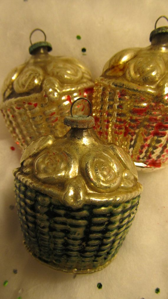 Reserved antique mercury glass ornaments set of three Vintage glass christmas tree ornaments