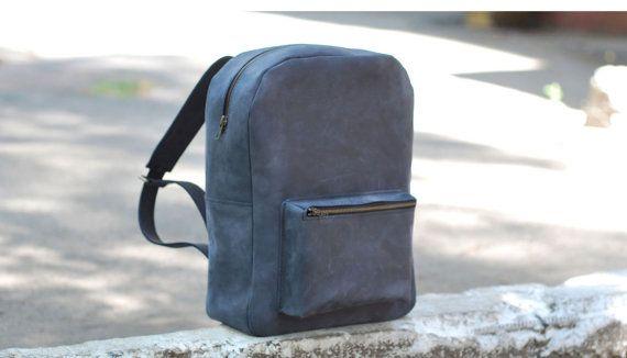 Genuine leather backpack, handmade backpack, men's backpack, leather bag, school backpack, college backpack, womens bag, P010 Blue