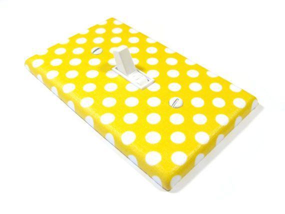 White and Yellow Polka Dots Light Switch Cover, Yellow Nursery Decor, Polka Dots Bedroom Decoration on Etsy, $12.00