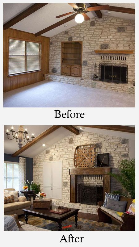 Living Room Makeovers Before And After Dark Paneling Kept This Large Living Room Locked