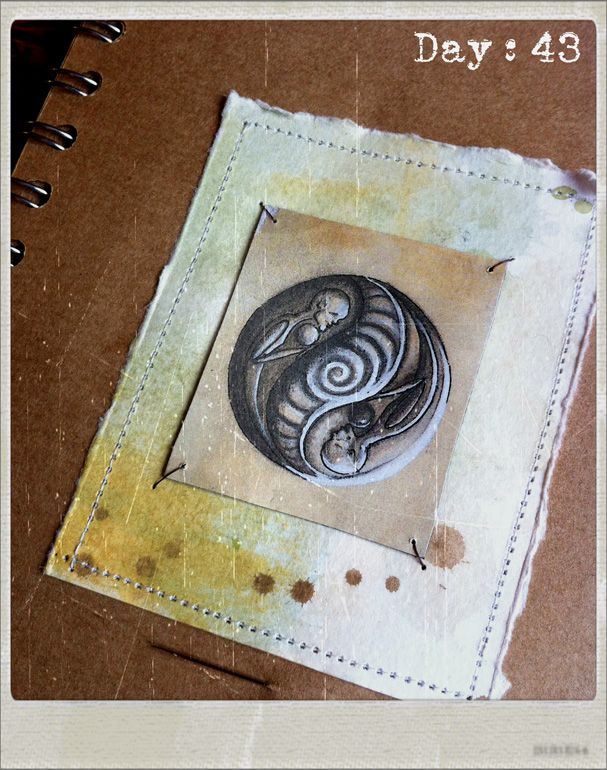 Love spiral sewn paper art by Traci Howard(feythcrafts)