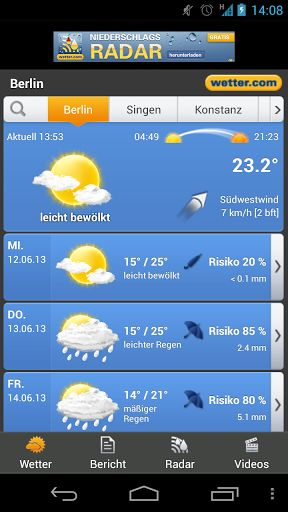 A weather station for your Android phone by wetter.com!This app provides you with - 7-day forecast - Current weather - Homescreen Widget (not possible if installed on SD card!!) - Powerful search + GPS positioning - Animated rain radar (Germany & Spain) - Weather warnings (Germany) - Editorial forecast (Germany, Austria, Switzerland) - Weather VideosGeneral information: We have weather information for all over the world. But our home market is Germany. So the...