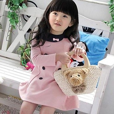 Girl's Fall/Spring Micro-elastic Medium Long Sleeve Dresses ( Cotton Blends )(1923607) – USD $ 9.90