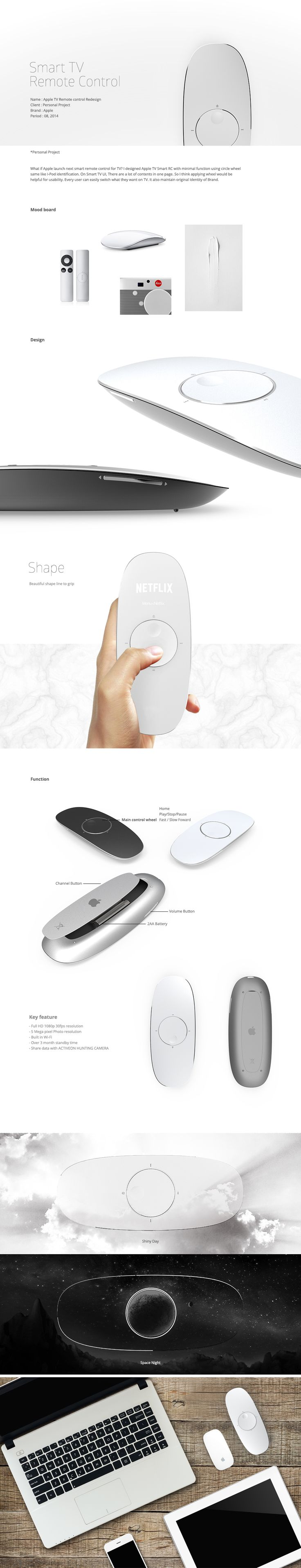 What if Apple launch next smart remote control for TV? I designed Apple TV Smart RC with minimal function using circle wheel same like I-Pod identification. On Smart TV UI, There are a lot of contents in one page. So I think applying wheel would be helpfu…