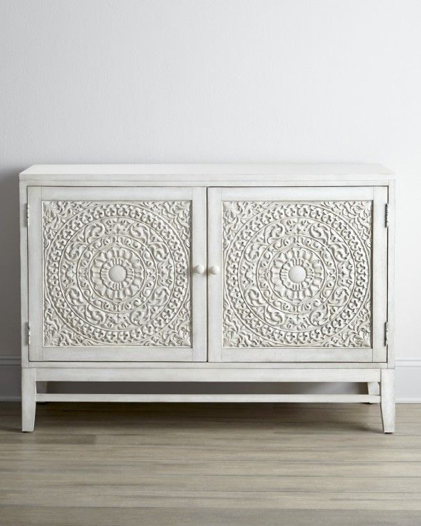 Entry hutch, minimal, white, shabby cool replace glass with medallions??