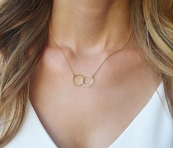 Sterling Silver Double Circle Necklace* Silver Jewelry* Dainty *Gift for her* Feminine* Choker necklace