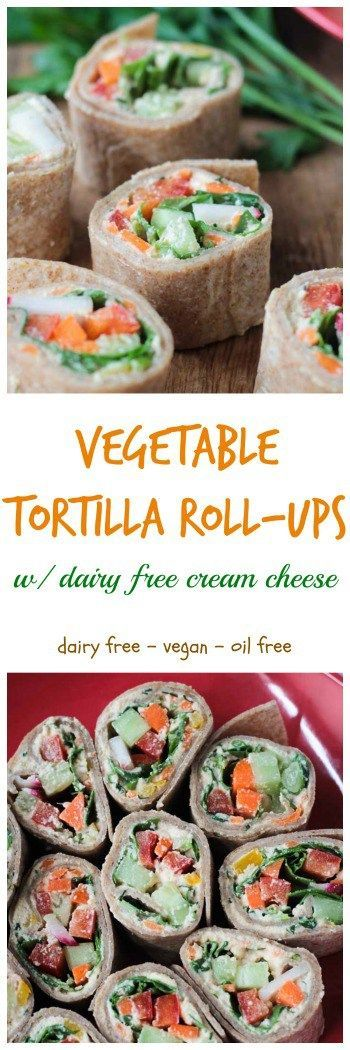 Tortilla Rollups w/ Dairy Free Veggie Cream Cheese - vegan | gluten free | dairy free | appetizer | party | Easter | holiday | easy | kid friendly. These creamy little bites are the perfect party appetizer or light lunch. Loaded with dairy free veggie cre