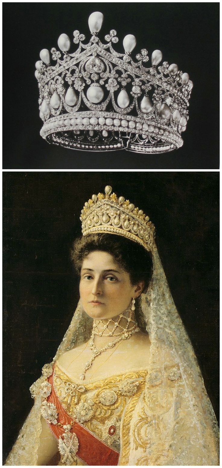 "Above: Tiara, likely created by the court jeweller Bolin for Empress Alexandra Feodorovna of Russia. Image from A. E. Fersman's catalog ""Diamond Fund of the USSR,"" published around 1924-26, via Elena Horvathova on LiveJournal (http://eho-2013.livejournal.com/62382.html). Below: Portrait of Tsaritsa Alexandra Feodorovna, by Ilya Yefimovich Repin, Russia, 1896, Hillwood Estate, Museum & Gardens, via Wikimedia Commons. CLICK FOR LARGER IMAGES."