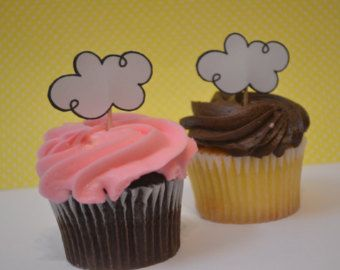 Baby Shower Cupcake Toppers  Set of 12  Glitter Rain Drop