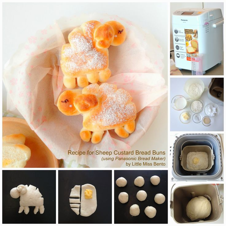 Kawaii Sheep Custard Bread Buns Recipe (Panasonic Bread Maker) 可愛い羊パンのレシピ - Little Miss Bento
