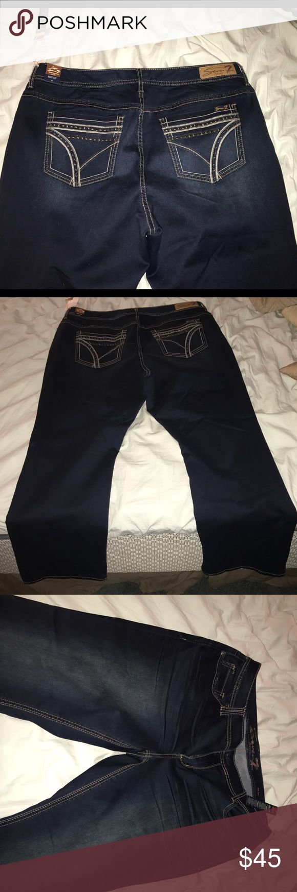Seven plus size jean size 20 Boot cut Seven plus size jeans. Dark wash, feels like they have some stretch to them. NWT. Size 20. Regular length. Seven7 Jeans Boot Cut