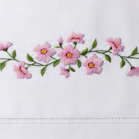Cherry BlossomPillowcases, Pair - White Cotton – Henry Handwork