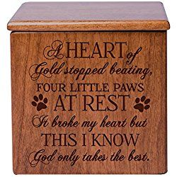 Cremation Urn for Dogs Memorial Keepsake box for Dogs and Cats, Urn for pet ashes A heart of gold stopped beating four little paws at rest Holds SMALL portion of ashes (Cherry)
