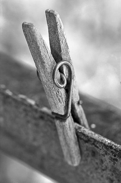Clothespin black and white photography