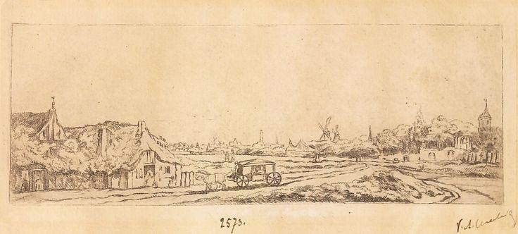 """Peisaj cu trăsură închisă pe drum, 1789-1797 (după Rembrandt). Imagine din colecțiile Bibliotecii """"V.A. Urechia"""" Galați."""