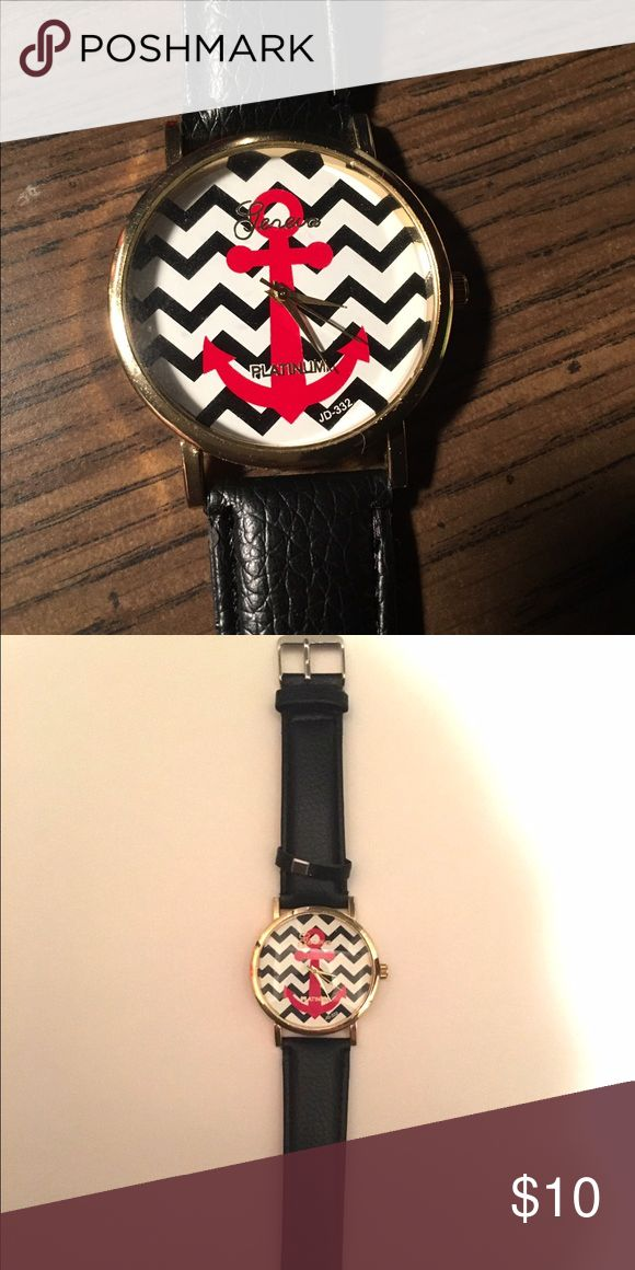Geneva Chevron Anchor Watch This Geneva Chevron Anchor watch has a black watch band with a black and white chevron pattern behind a red anchor. Never been worn. Was received as a gift. Geneva Platinum Other