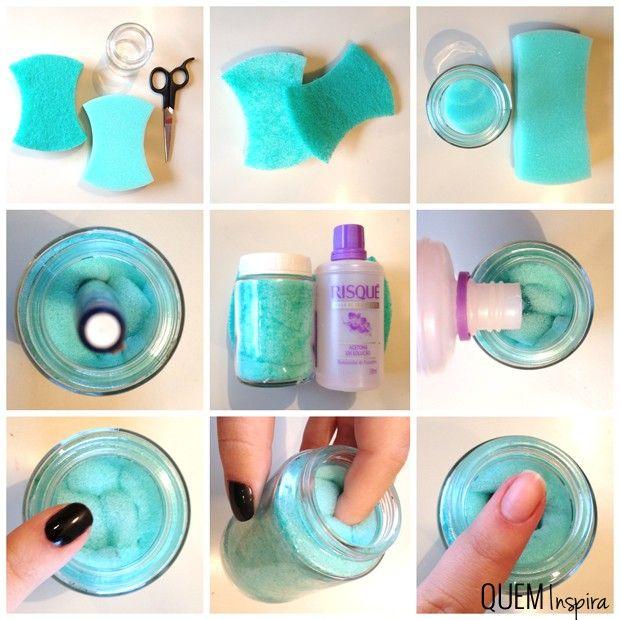 Passo a passo: espuma pré-umedecida removedora de esmalte (Foto: QUEM Inspira)