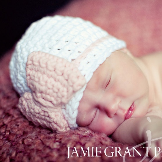 Crochet Baby Bow HatChoose Your by MadeWithHeartByEmily on Etsy