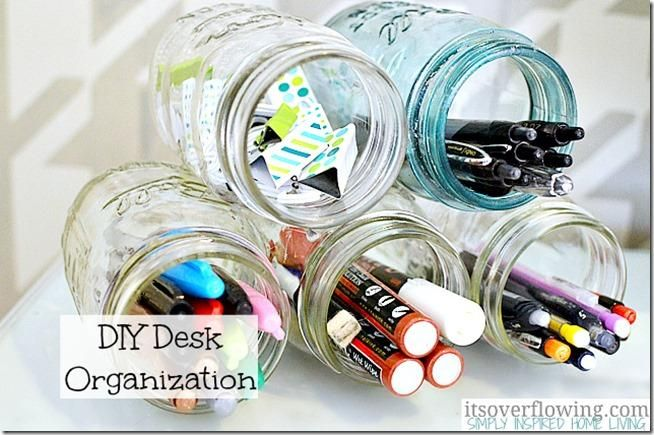 DIY Desk Organization Mason-Jars ItsOverflowing