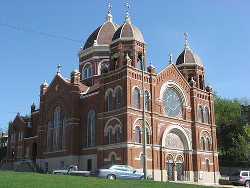 St. Nicholas' Catholic Church in Zanesville front and northern side.jpg
