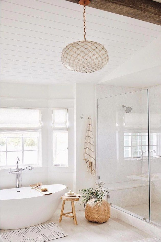 These Bathroom Chandelier Lighting Ideas Are An Easy Way To Add Dramatic Flair Hunker In 2020 Bathroom Chandelier Bathroom Interior Design Bathroom Trends