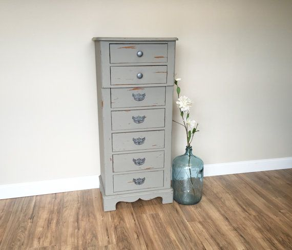 Lingerie Chest Tall Skinny Dresser Gray Chest by VintageHipDecor
