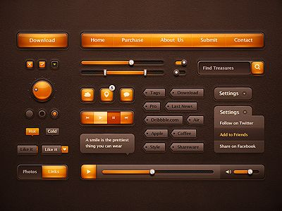 Dribbble - Orange Ui Pack by Mike | Creative Mints