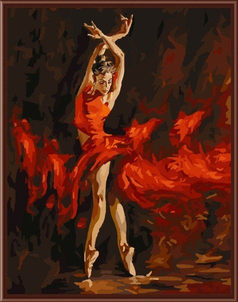 Abstract Oil Painting Ballerina Frameless Picture
