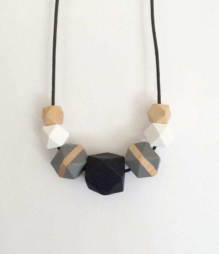 Hand painted geometric wooden bead necklace/ statement necklace/ geometric/ ombre/ black and white/ faceted beads/ gift for her/ hexagons by MODFRESH on Etsy https://www.etsy.com/listing/196242056/hand-painted-geometric-wooden-bead