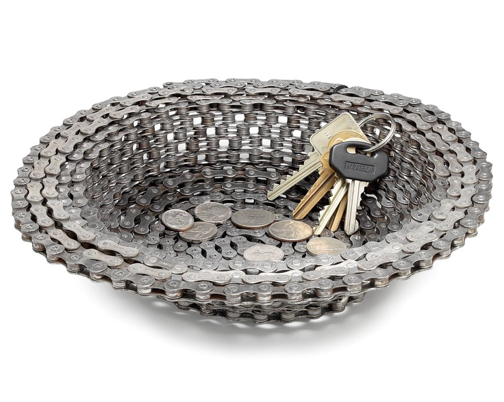 For the man in your life: BIKE CHAIN BOWL | Decorative, Unique Graham Berg Home Accent for Keys, Change, Potpourri is Handmade from Recycled Bicycle Parts | UncommonGoods