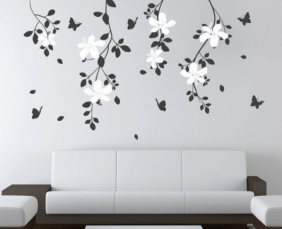 Natural Tree Branch Flowers Butterflies Decals Stick on Wall Art by DecalIsland-Tree Branch Flowers Butterflies Headboard Wall Decal SD 010