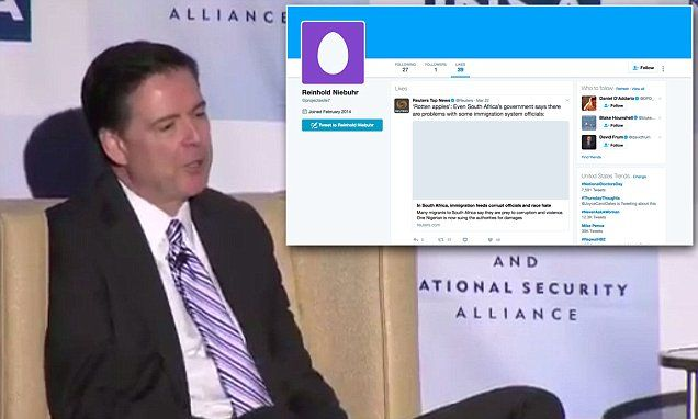 James Comey's Twitter account is allegedly discovered | Daily Mail Online
